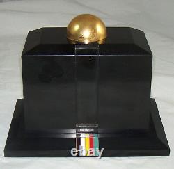 Porte-cigarettes Vintage Fancy Gold & Lighter Set Enamel Stripes & Black Cover