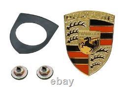 Pour Porsche 911 914 927 Oes Hood Emblem Kit Émail Rouge Et Noir Sur Or