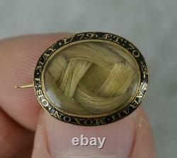 Rare 1779 Géorgien 15ct Broche De Médaillon D'émail Noir