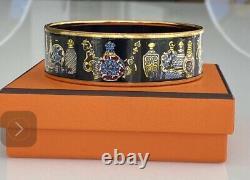 Rare Auth Hermes Gm Exotique Noir Or Parfum Bouteille Émail Bracelet Bangle