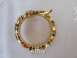 Rare Joan Rivers Snake Coil Bangle Bracelet Noir Brun Émail Plaqué Or