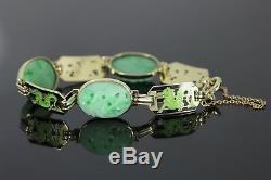 Rare Vintage R 14k Or Noir Vert Jaune Jade Bracelet Émail Naturel Dragon