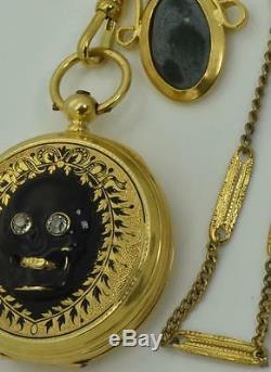 Rares Géorgien Memento Mori / Mourning Émail Noir Crâne En Or 18 Carats Et Diamants Montre