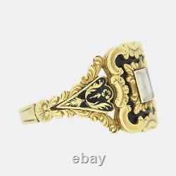 Serrure De Cheveux Géorgienne 1830s Black Enamel Mourning Ring 18ct Or Jaune