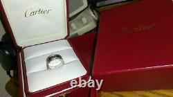 Solide 18k Or Blanc Lourd Cartier Émail Noir C2 Anneau 10,14 Grammes Taille 4,75