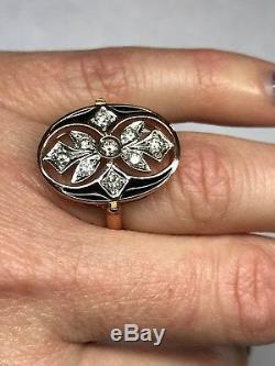 Style Russe 585 Rose Bague De Diamants D'or Avec Émail Noir