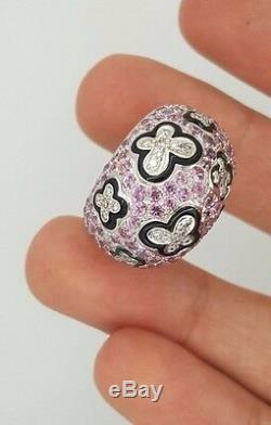 Succession Ronde Or Blanc Diamant Rose Noir Saphir Bague Papillon Émail