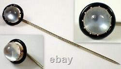 Superb Antique Victorian 14k Or Jaune 8mm Moonstone Black Émail Stick Pin