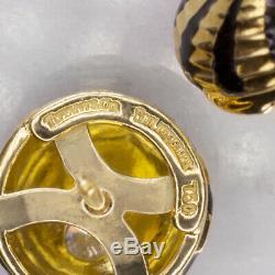 Tiffany Schlumberger Vintage G Vs1 Diamant Boucles D'oreilles En Or 18 Carats Noir Goujons Émail
