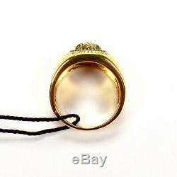 Tn-o 350 $ Gianni Versace Black Gold Enamel Medusa Logo Bague Homme 25 It Authentique