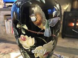 Très Rare Antique Améthyste Noir Lidded Vase Émaillé Moser Tchèque Doré 16