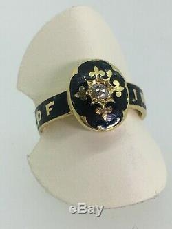 Un Antique Or 18 Carats, Émail Noir Et Diamant Deuil (memorial) Ring, C1884