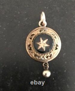 Verrouillage Étrusque Victorien Rose Or Noir Émail Star C1860 Pendentif De Deuil