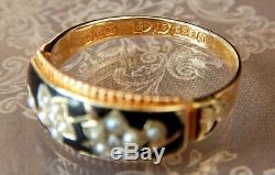Victoria (1896) 15ct Diamant Émail Or Noir Mourning Bague Valued £ 850