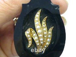 Victorian 14k Gold Black Onyx Jet Mourning White Pearl Necklace Émail 26.5grammes