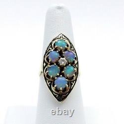 Victorian 14k Or Fiery Blue Opal Diamond Black Enamel Navette Ring Sz7