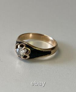 Victorian 14k Rose Gold/black Enamel. 60 Carat Diamond Ring Circa 1850s Rare