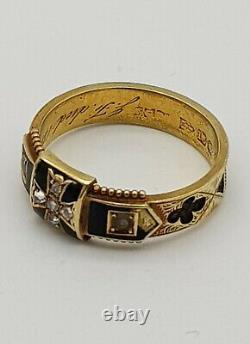 Victorian 15ct Or, Émail Noir, Diamant Et Graine Pearl Mourning Ring