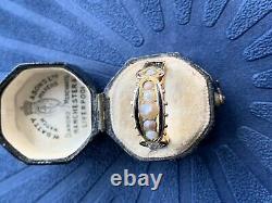 Victorian 15ct Or Jaune Perle 5 Pierre Rose Cut Diamants Anneau Noir En Émail