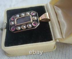 Victorian 9ct Gold Seed Pearl Pink Gem Set Black Enamel Mourning Locket Pendentif