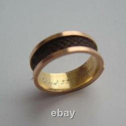 Victorian 9k Gold Chester 1889 Inscrit Black Enamel & Hair Mourning Ring Boxed