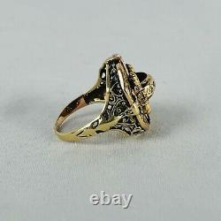 Victorian Repousse Black Enamel Cross Diamond Ring 14k Yellow Gold Sz 6,75