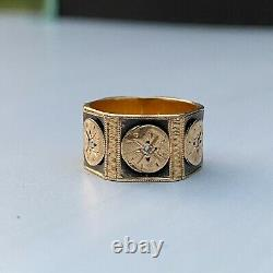 Victorian Revival 14k Or Et Diamond Black Enamel Wide Eternity Band Ring