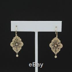 Victorienne 14k Graine Or Jaune Perles Et Émail Noir Boucles D'oreilles # 998b-9