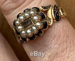 Victorienne 18ct Émail Jaune Or Noir En Mémoire Pearl Médaillon Front Ring