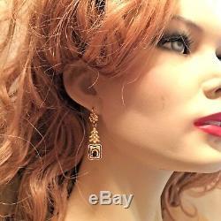 Victorienne Émail Noir Or Jaune 18 Carats Grenat Filigrane Boucles D'oreilles & Bague Rare