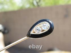 Vintage 1/4ctw Véritable Diamant 14kt Bâton D'or Épingle Avec Cadre En Émanel Noir