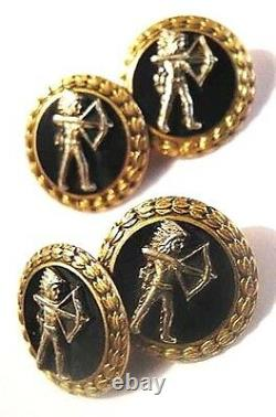 Vintage 10k Yel Gold +black Enamel Indian Chief Cufflinks Fine Detail Sharp