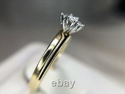 Vintage 14k Jaune Or Rond Brillant Diamant Noir Émanel Bague De Fiançailles