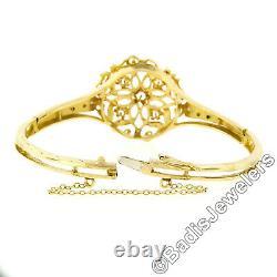 Vintage 14k Or Jaune 0.50ctw Diamant Et Noir Enamel Bracelet Bangle De Travail Ouvert