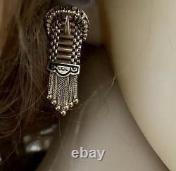 Vintage 14k Or Jaune Noir Enamel Ceinture Boucles D'oreilles Style Dangle Rare