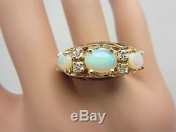 Vintage 14k Or Jaune Opale Diamant En Émail Noir Bague