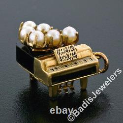 Vintage 14k Yellow Gold Pearl Black Onyx - Piano En Émail Avec Pendentif De Charme Notes
