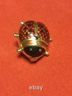 Vintage 18k Italie Or Jaune Lady Bug Pin Broche Noir Et Rouge Émail