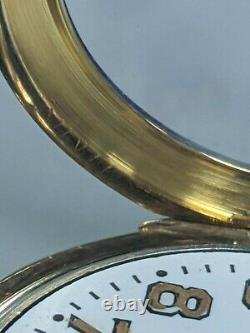 Vintage 1947 Waltham 14k Gold Roy Case Style Militaire Émail Cadran Wristwatch