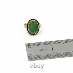 Vintage Art Déco 14k Or Ovale Jadeite Cabochon Black Enamel Ring 4.25 #1101b-4