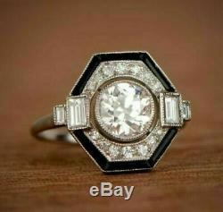 Vintage Art Déco Bague De Fiançailles En Émail Noir 2.8ct Diamant 14k Or Sur
