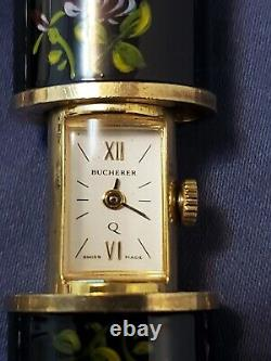 Vintage Bucherer Gold Plaqué Peek-a-boo Enamel Case Quartz Pendentif Watch