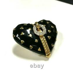 Vintage D'orlan (boucher) Black Enamel Zipper Heart Brooch Strass Gold Mm9zx