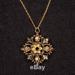 Vintage Diamant Semi Pendentif Mont Émail Noir Collier Antique Or Réglage