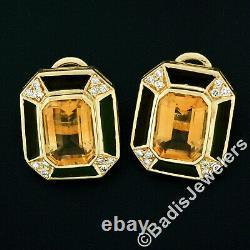 Vintage En Or 18 Carats Citrine Diamant En Émail Noir De Grandes Boucles D'oreilles Bouton Rectangulaire