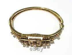 Vintage Estate 14k Or Jaune Opale, Pearl & Black Enamel Bangle Bracelet