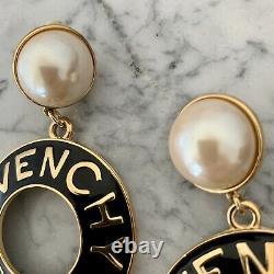 Vintage Givenchy Or En Émail Noir Perle Goutte Jumbo XL Clip Boucles D'oreilles