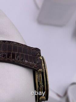 Vintage Hommes Gucci Triple Calendrier Lune Or Plaque Montre En Émanel Noir Avec Boîte