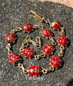 Vintage Italie 14k Or Jaune Et Rouge Et Noir Émail 10 Coccinelle Bracelet