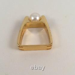 Vintage Jewellery Gold Ring White Pearl Black Enamel Antique Deco Bijoux
